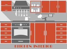 Modern kitchen interior in flat style Stock Photography