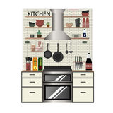 Modern kitchen interior in Flat style Royalty Free Stock Image