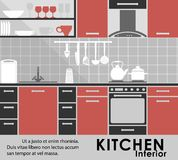 Modern kitchen interior in flat style Royalty Free Stock Photos