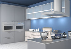 Modern kitchen interior with light blue wallpaper Stock Images
