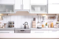 Modern kitchen interior. In doors royalty free stock photo