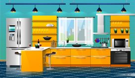 Modern kitchen interior. Modern interior of the orange kitchen. Vector illustration. Household kitchen appliances cabinets, shelves,gas stove, cooker hood Royalty Free Stock Photo