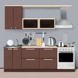 Modern Kitchen Interior In Realistic Style vector illustration