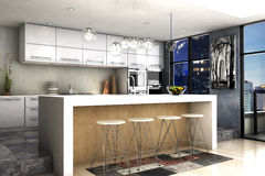 Modern kitchen. A modern interior kitchen rendering