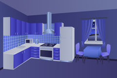 Modern kitchen interior room night blue table chair window illustration Stock Image