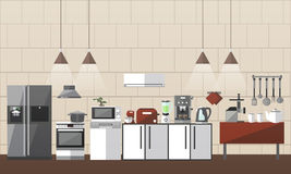 Modern kitchen interior set. Vector illustration in flat style design. Design elements and icons. Room furniture. Royalty Free Stock Photos