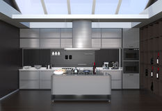 Modern kitchen interior with smart appliances in black color coordination Royalty Free Stock Photos