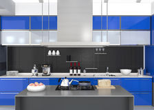 Modern kitchen interior with smart appliances in blue color coordination Stock Photography