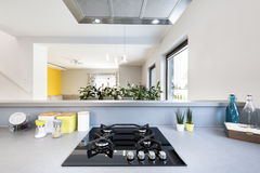 Modern kitchen interior with stainless steel appliances Stock Image