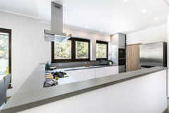 Modern kitchen interior with stainless steel appliances Stock Images