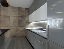 Modern kitchen interior with stone wall Royalty Free Stock Photos