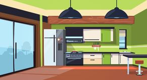 Modern Kitchen Interior With Stove, Fridge And Cooking Appliances. Flat Vector Illustration royalty free illustration