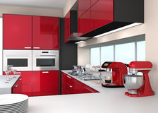 Modern kitchen interior with stylish coffee maker, food mixer. Royalty Free Stock Photo