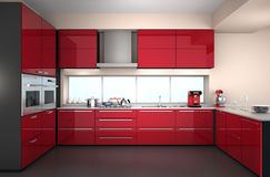 Modern kitchen interior with stylish coffee maker, food mixer. Modern kitchen interior with stylish coffee maker, food mixer and red paint cabinets stock illustration