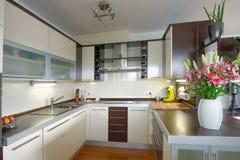 Modern Kitchen. Interior of stylish modern house, kitchen Royalty Free Stock Photos