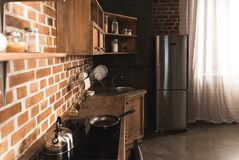 Modern kitchen interior with utensils. And appliances royalty free stock photo