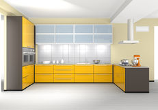 Modern kitchen interior in yellow. Modern kitchen interior with yellow color coordinate Royalty Free Stock Photos