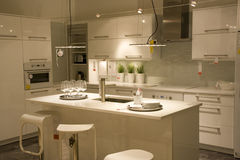 Modern kitchen interiors design. Very elegant kitchen interiors in a store Stock Photo