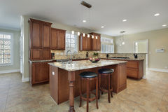 Modern kitchen with island royalty free stock photo