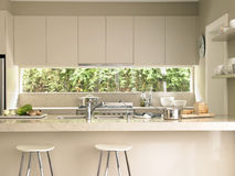 Modern Kitchen Island. Bar stools by modern kitchen island Royalty Free Stock Image