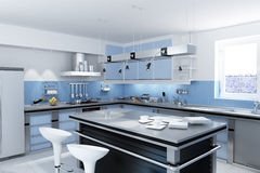 Modern kitchen with isle. Royalty Free Stock Photography