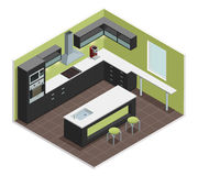 Modern Kitchen Isometric View Image. Modern kitchen interior isometric view with counter stove range cooker oven  shelves refrigerator and cabinets vector Royalty Free Stock Photo