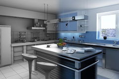 Blue modern Kitchen Stock Images