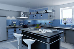 Blue modern Kitchen Royalty Free Stock Photography