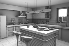 3d rendering modern Kitchen Royalty Free Stock Photos