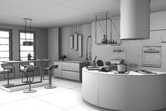 3d rendering modern Kitchen Stock Photo