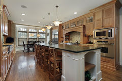 Modern kitchen with large island royalty free stock photos