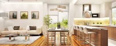 Modern kitchen and living room in a big house. Modern kitchen and large living room in a big house stock photos