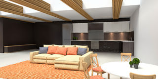Modern kitchen and living room. 3d illustration Stock Image