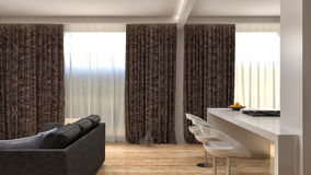 Modern kitchen and living room. 3d illustration Stock Photography