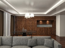 Modern kitchen and living room. 3d illustration Royalty Free Stock Photos
