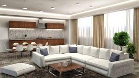 Modern kitchen and living room. 3d illustration Stock Images