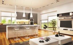 Modern kitchen and modern living room design. Modern kitchen and big living room design royalty free illustration