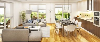 Modern kitchen and living room with large windows stock photography