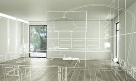 Free Modern Kitchen Loft Plan Royalty Free Stock Photography - 130745777