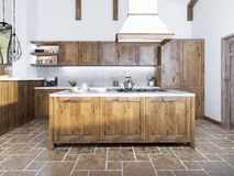 Modern kitchen in the loft style. Kitchen island with a hood over it. Kitchen of fashion solid wood. 3D render Stock Images