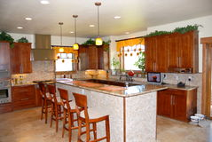 Modern kitchen with lunch bar Stock Photo