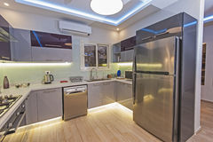 Modern kitchen in a luxury apartment Royalty Free Stock Photo