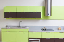 Modern kitchen in modern house Royalty Free Stock Images