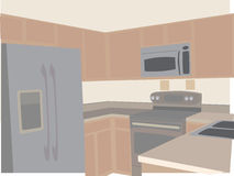 Modern Kitchen in neutral tones stylized angled. Smaller residential room for preparation of food and drink Stock Images