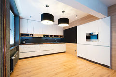 Modern kitchen interior. Modern kitchen of new apartment Royalty Free Stock Images
