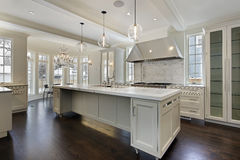 Modern kitchen in new construction home. With island Stock Photography