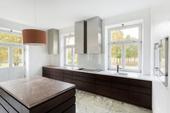 Modern kitchen in new home Stock Images