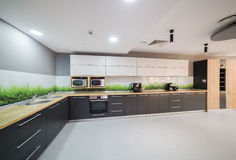 Modern kitchen in office building. Kitchen in office building modern design stock photo