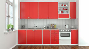 Modern kitchen - red Stock Photo