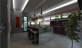 Modern kitchen render Royalty Free Stock Photography